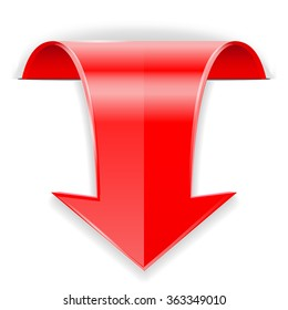 Red arrow.  Down sign. Vector illustration isolated on white background.