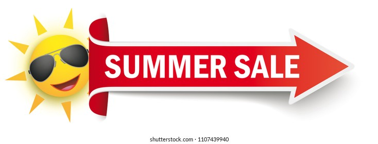 Red arrow with funny sun and text Summer Sale on the white background. Eps 10 vector file.