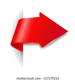 Red Arrow With Gradient Mesh,  Vector Illustration