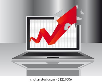 red arrow and gray computer over gray background. illustration