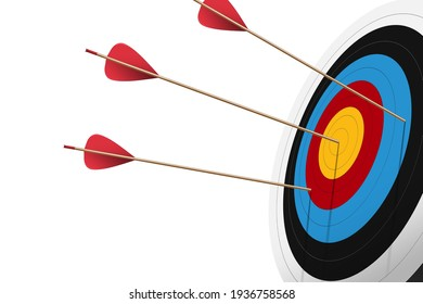 Red arrow hit to center of dartboard. Archery target and bullseye. Business success, investment goal, opportunity challenge, aim strategy, achievement focus concept. 3d realistic vector illustration