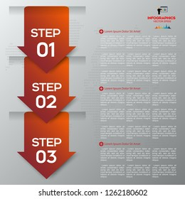 Red Arrow infographic concept. Business template with 3 steps, options, parts. Can be used for workflow layout, diagram, chart, web design.
