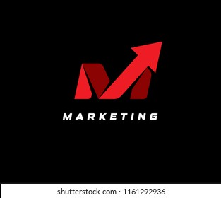 Red up arrow on black background, vector illustration. SEO icon, marketing abstract symbol, delivery logotype, financial rating illustration, letter M, bets logo, emblem template.