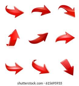 Red arrow set. Vector