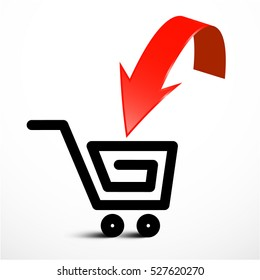 Red Arrow with Shopping Cart Icon. Vector Insert Product Symbol.