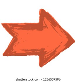 Red arrow sign painted by paint brushstroke. Ink sketch drawing created in handmade technique. Quick and easy recolorable shape. Vector illustration a graphic element