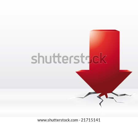 Red arrow vector crash illustration