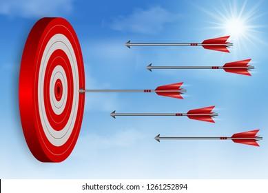 red arrows darts fling go to target Circle. Business success goal. on background sky. creative idea. leadership. cartoon vector illustration