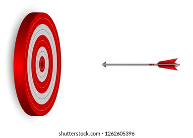 red arrows darts fling go to target Circle. Business success goal. on background white. creative idea. leadership. cartoon vector illustration