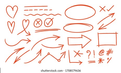 Red arrows design vector.  Doodle Marker hand drawn shapes vector illustration.