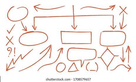 Red arrows design vector.  Doodle Marker hand drawn shapes vector illustration.