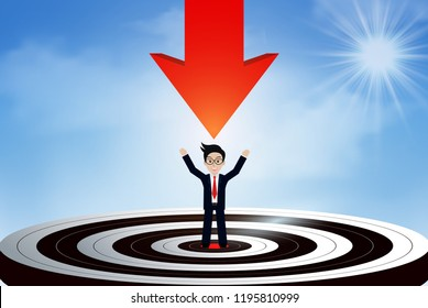 Red arrows fling down from the sky go to center target. there are businessmen standing in the center. business success goal. creative idea. leadership. illustration vector