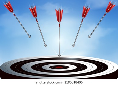 Red arrows many darts fling down from the sky go to center target. business success goal. creative idea. leadership. illustration vector
