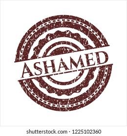 Red Ashamed grunge stamp