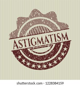 Red Astigmatism distressed rubber stamp