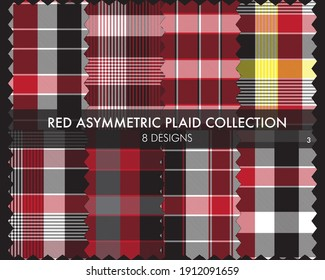 Red Asymmetric Plaid seamless pattern collection includes 8 designs for fashion textiles and graphics
