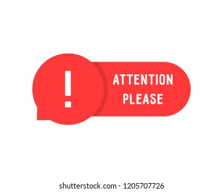 red attention please bubble isolated on white. flat simple style trend modern error logotype graphic art design element. concept of web urgent message or caution info like very important popup