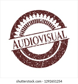 Red Audiovisual distressed rubber grunge seal