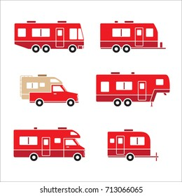 Red auto RVs, Camper cars / vans, Truck Trailers, recreational vehicles vector icons, isolated on white background