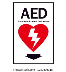 Red automated external defibrillator / aed sign with heart , electricity and pointer symbol flat vector icon