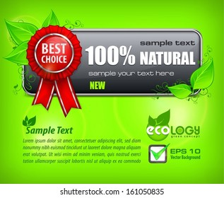 Red award banner with label best choice & text on green, vector illustration