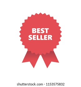 Red Award Medal with ribbons, Banner. Vector Illustration. Best seller