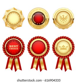 Red award rosettes and gold heraldic medals and insignia