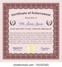 Red Awesome Certificate template. Elegant design. With great quality guilloche pattern. Vector illustration.
