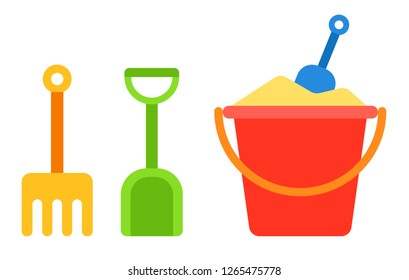 Red baby bucket with sand and shovel and rake for a sandbox next to it vertically vector flat icon isolated on white