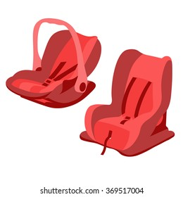 Red baby car seats set vector