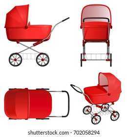 Red baby stroller, vector illustration on white background. Top view, side view, front view and general view.