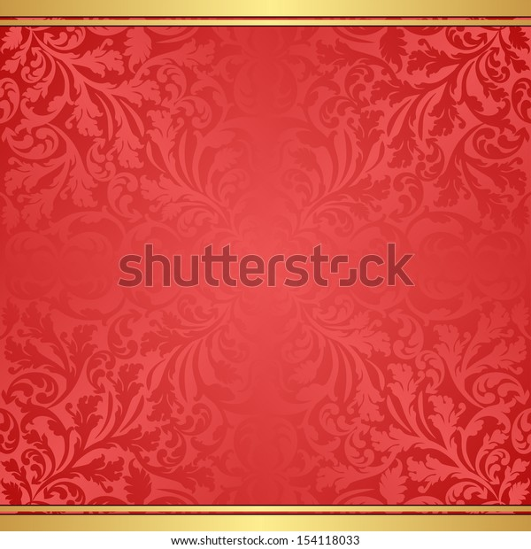 red background with abstract floral ornaments