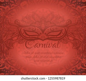 Red background  with carnival mask and floral pattern for design invitation card, flyer, poster on the fastival. New orleans Mardi Gras. Vector illustration.