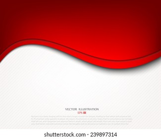 Red background curve line on white space shadow overlap and dimension modern texture pattern for text and message website design