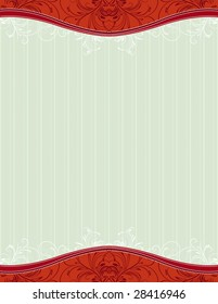 red background with decorative ornaments and hearts, vector illustration