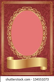 red background with decorative oval frame and gold ribbon