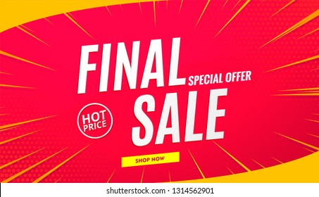 Red background final sale banner .Vector design