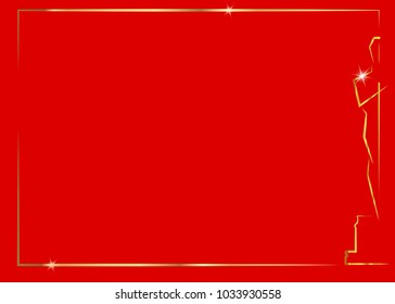 red background with gold frame, vector illustration abstract golden people logo icon. Academy award icon in flat style, gold Silhouette statue icon. Films and cinema symbol stock