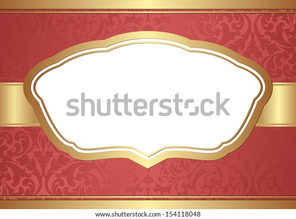 red background with golden frame and transparent space insert for picture