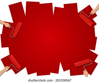 Red background, hands with roller brush, flat style