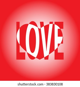 Red background with heart.