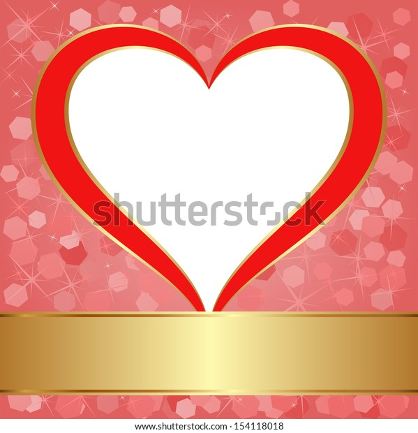red background with heart and transparent space insert for picture