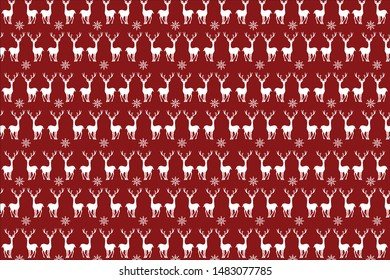 The red background with reindeer for design.