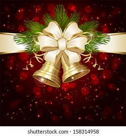 Red background with shiny Christmas bells and beige bow, illustration.