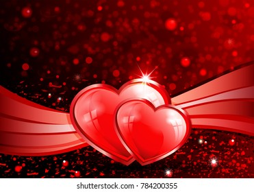 red background with silhouette of two red hearts and ribbon