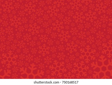 Red background with snowflakes, Vector Illustration winter for Christmas and new year's eve holidays