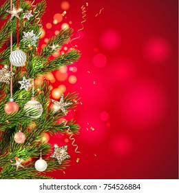 Red background template with Christmas tree branches, Holiday decorations and place for text. Christmas balls, stars and confetti.