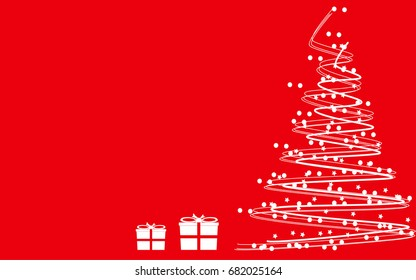 Red background with white abstract tree and gift boxes.