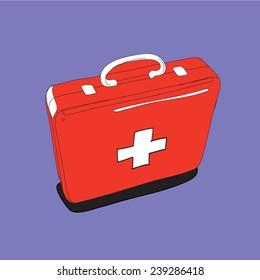 Red  Bag, hand drawn. Vector Illustration.