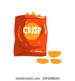 Red bag package of crisp potato chips snacks vector Illustration on a white background